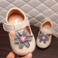Baby Girl First Walkers Flat Shoes 1 3 years old PU leather Flower Solid Pink Hook& Loop Fashion Leather Soft Shallow Shoe