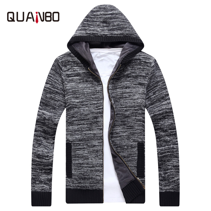 QUANBO Brand 2018 New Arrival Autumn Whiter Fleece Thick Hooded Cardigan High Quality Men Fashion Sweater Casual Knitted Coat
