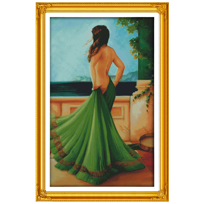 The Lady In Green Dress Counted Cross Stitch DIY 11 14CT Cross Stitch Sets Wholesale Cross-Stitch Kits Embroidery Needlework