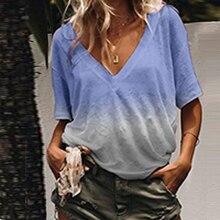 Women Casual V-neck T-shirt Gradient Print Tops Summer Short Sleeve Plus Size T Shirts Tees цена