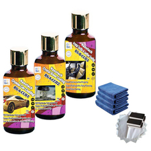 nano crystal ceramic car coating and crystal self cleaning car glass coating plus super hydrophobic textile and leather coating