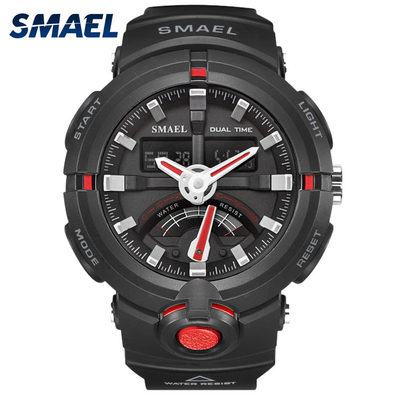 Men Watches SMAEL Brand 50Meters Waterproof Outdoor Sport Male Clock Dual Display Auto Date Men Silicone Sport Watch Hot 1637  smael 1708b