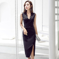 summer new sleeveless lace mid calf 2018 thin package hip dress sexy v neck collar vest long career dress in women's clothing