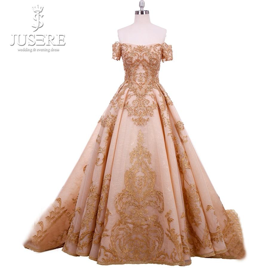 Train Zipper Back Middle East Elegant Box Pleat Appliques Bead Side Sleeves  Golden Evening Haute Couture fa39ea279790