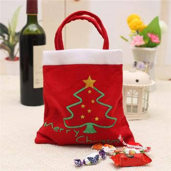 5 Pcs Merry Christmas Red Candy Bag Tree Print Pouch Home Party Decor Gift 2