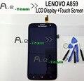 Para lenovo a859 pantalla lcd con herramientas de reparación + pantalla táctil de reemplazo digitalizador para lenovo a859 teléfono móvil en stock