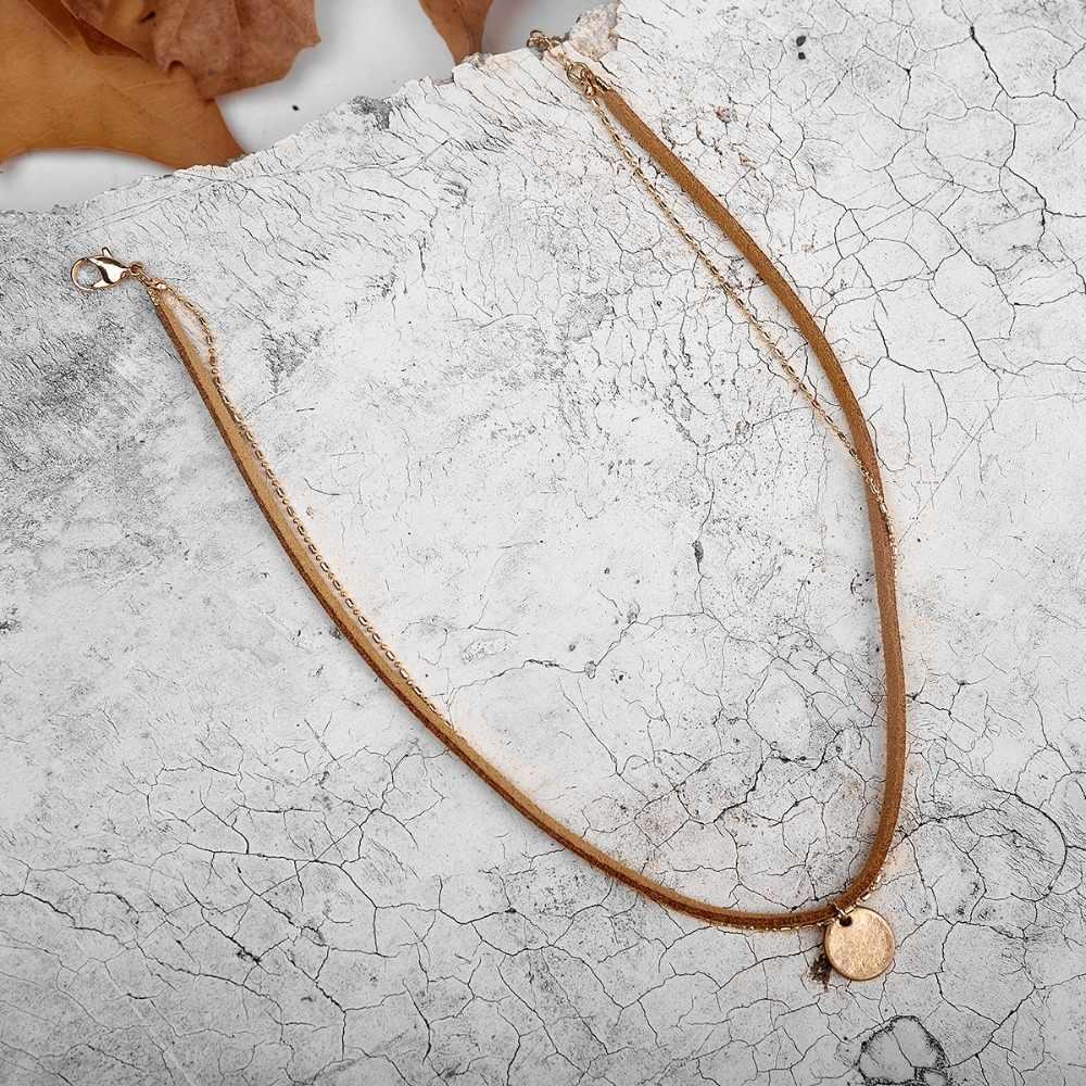 野生 & 送料パンクの女性スエード二層チョーカーネックレスゴールドチェーンラウンドペンダント鎖骨ファッションネックレスジュエリー