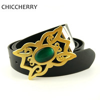 New Cinturon Vintage Retro Masculino Mens Pu Leather Belts With Green Cat Eye Stone Silver Gold