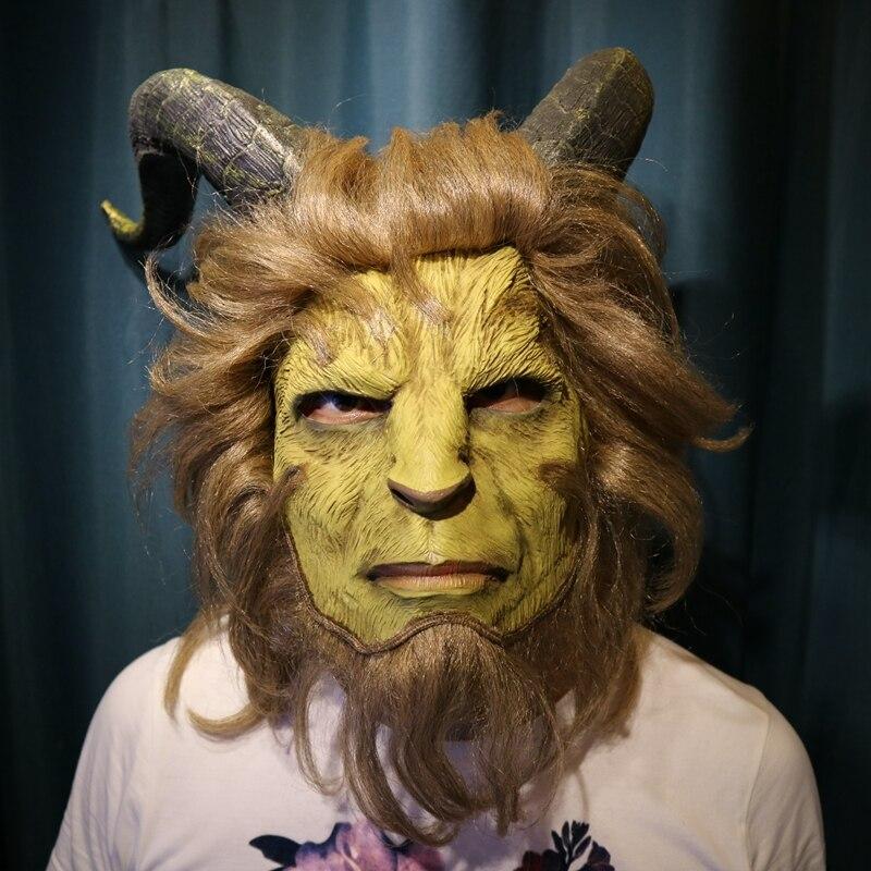 2017 Chaude Film la belle et la Bête Adam Prince Masque Halloween Cosplay Horreur Masque Latex Halloween Chapeaux de Partie de Masque