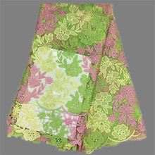 Nice pink+green+yellow African cord net lace fabric pretty French mesh lace fabric for wedding/party dress EN3-8