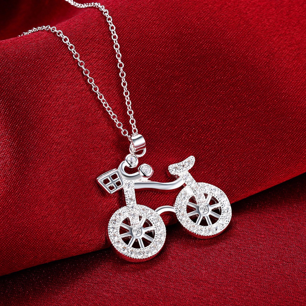 925 Sterling Silver Bicycle Pendant Necklace (Comes with an 18