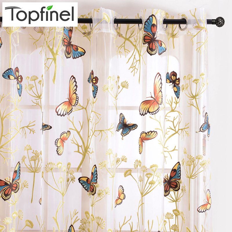 Topfinel Butterfly Window Curtains for Living Room Bedroom Embroidered Voile Curtains Kitchen Curtains Tulle window Treatments
