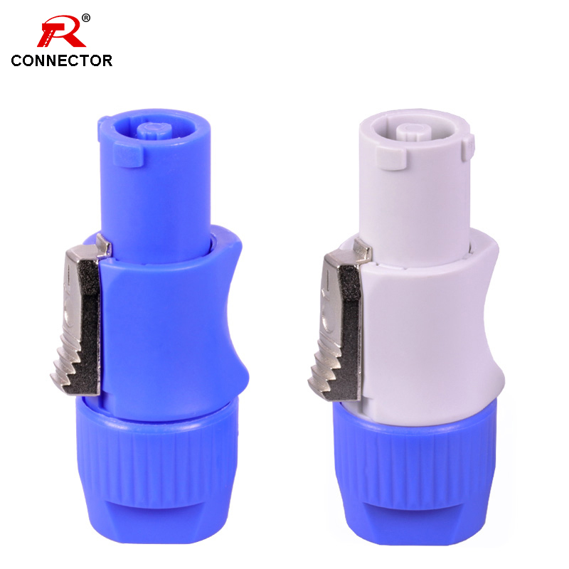 50pcs NAC3FCA NAC3FCB PowerCon Connector 3pins 20A 250V Powercon Male Plug with CE RoHS Blue Input