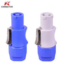 50pcs NAC3FCA NAC3FCB PowerCon Connector 3pins 20A 250V Powercon Male Plug, with CE/RoHS,Blue(Input) & Light Grey(Output) цена и фото