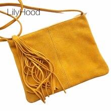 Suede Leather Fringed Shoulder Bag Female Envelope Small Crossbody Bag Women Nubuck Genuine Leather Mustard Clutch Sling Bag