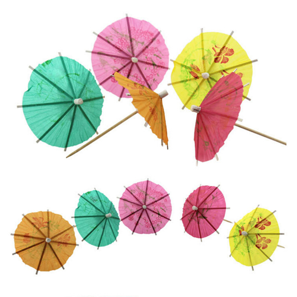144Pcs Box New Paper Drink Cocktail Parasols Umbrellas Luau Sticks POP Party Wedding Umbrella Decoration Hot Sale In Gift Bags Wrapping Supplies