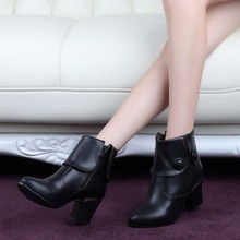 Boots PU Women  shoes Large size small yards 31 32 33 40 41 42 43 44  45 46 47 high heel 7.5CM Platform 1CM EUR Size 30-48