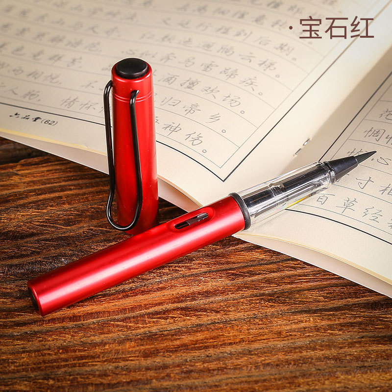 Hot Sale 1pc Red Metal Calligraphy Pen Soft Hair Writing Brush Watercolor Fountain Pen Painting Drawing Tool School Supplies Stationery By Scientific Process