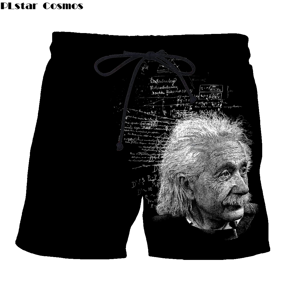 Famous Einstein Men Funny Board Shorts Viking Tattoo 3D Print Summer Casual Jogger Casual Quick-Drying Beach Knee Length Pants