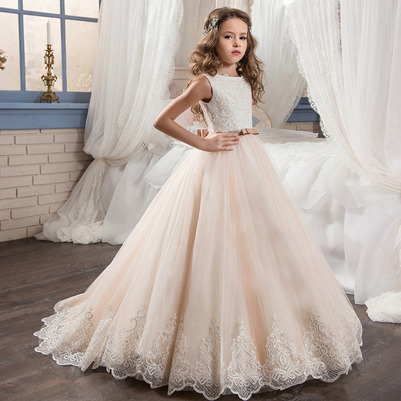 Sleeveless Elegant Beaded Train   Flower     Girl     Dresses   for Wedding Ball Gown Children Ceremony Thanksgiving Event Formal Prom   Dress