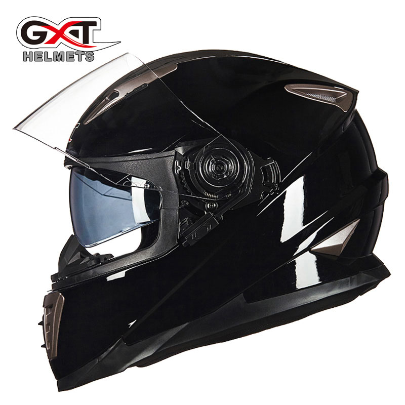 Winter White dinosaurs GXT Double lens Full Face Motorcycle Helmet ,men moto motorbike helmet with Built-in lens can be hidden