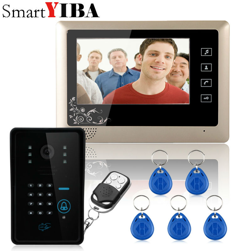 SmartYIBA Wired 7 Video Door Phone Intercom System 5 RFID Keypad Code Number Doorbell Camera 1 Monitor 1000TVL Wireless unlocks ...