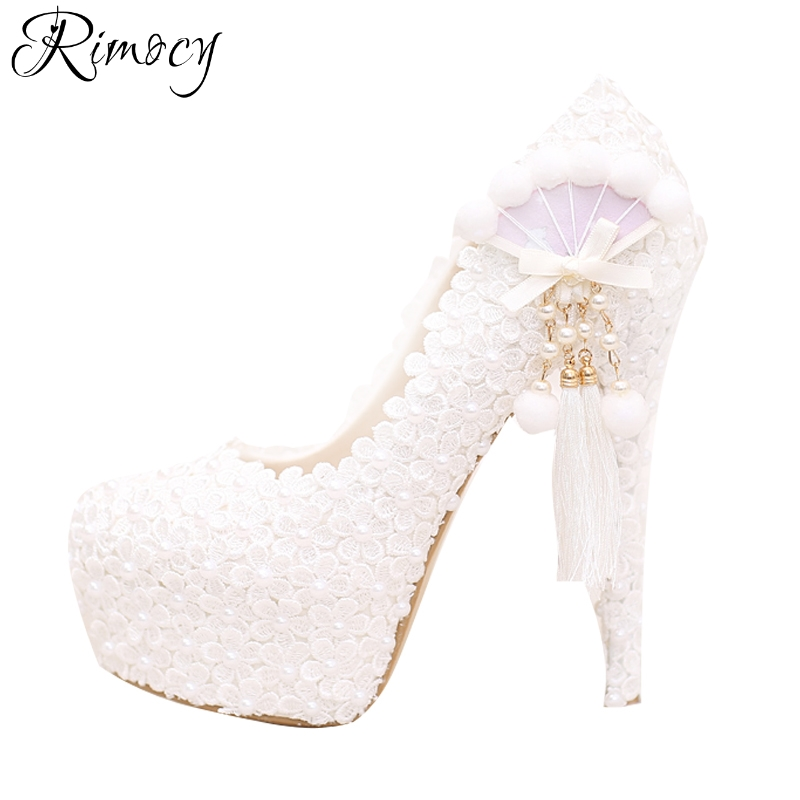 Rimocy white lace floral wedding shoes woman super high heels 14cm pearls tassel women bride pumps