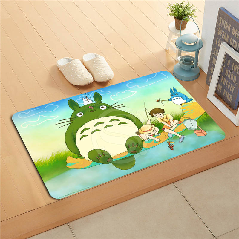 W530L4 Custom Anime My Neighbor Totoro Watercolor Painting Doormat Home Decor Door Mat Floor Mat Bath Mats Foot Pad #F4