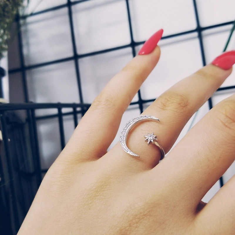 fashion 925 Sterling Silver Ring Finger moon star CZ Ring for Women Jewelry Pure Wedding Engagement sepcial unique LR4596S