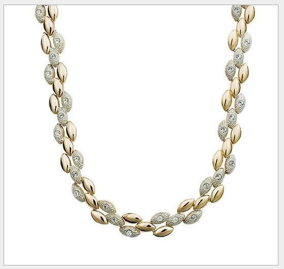 Качественное позолоченное ожерелье в виде пшеничного колоска, женские вечерние ювелирные изделия для девушек, Прямая поставка, стразы, классические подарки, цепочка на свитер - Окраска металла: gold color