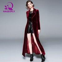 2019 Весна XL-Длинная ветровка женский винно-красный синий бархатный Тренч длинный Тренч корейский Свободный x-длинный плащ верхняя одежда