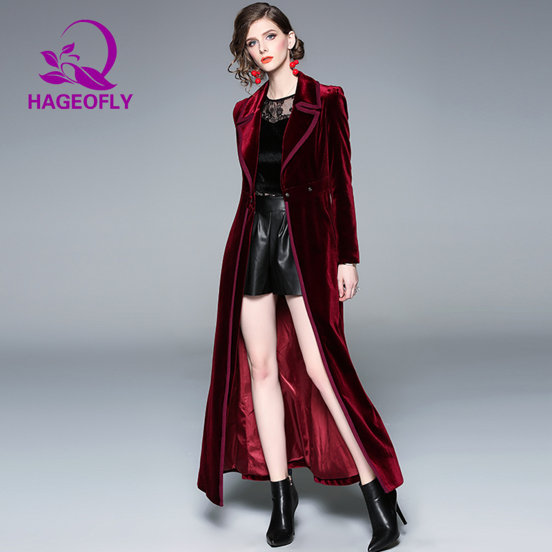 2019 Spring XL-Long Windbreaker Women Wine Red Navy Velvet Trench Coat Long RunwayTrench Korean Loose X-Long Trench Coat Outwear