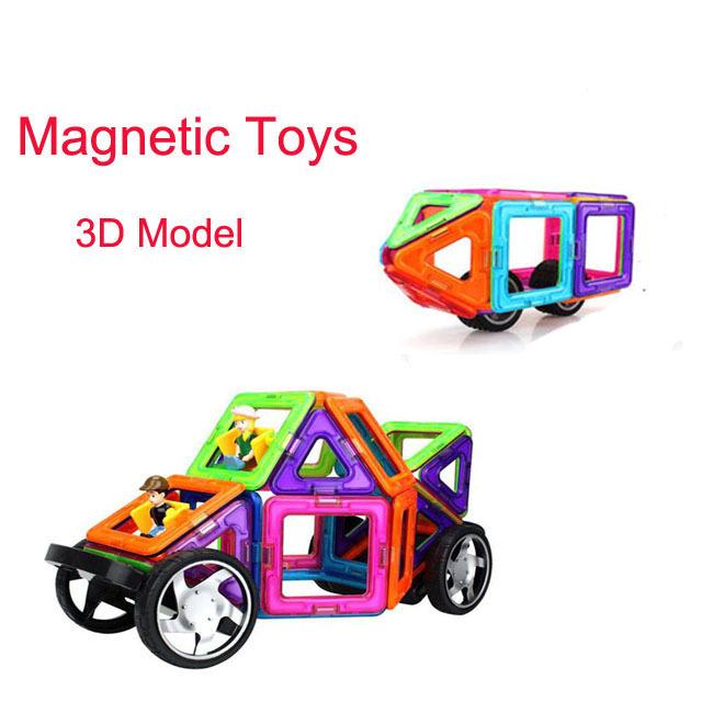 Bloques de construcción magnética 3d modelo de coche de plástico juguetes educativos ladrillos diy diseñador magnética para los niños