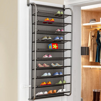 10 layer door rear shoe rack simple wall mounted shoe cabinet breathable type mesh storage shelves living room furniture