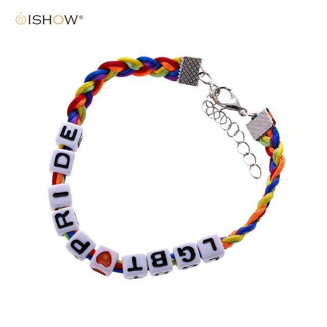 d9bf9fe5bf Rainbow Gay LGBT Pride Charm Bracelets for Woman Man Lesbian Lovers jewelry  Adjustable Handmade Rope Gay Bracelets Pulseras