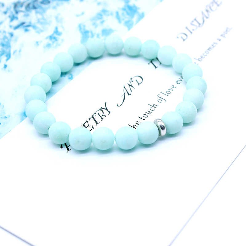 New Natural Blue matte Stone Bracelets For Women Section Bead Bracelet Charm Yoga Mala Healing Reiki Hand-made Jewelry