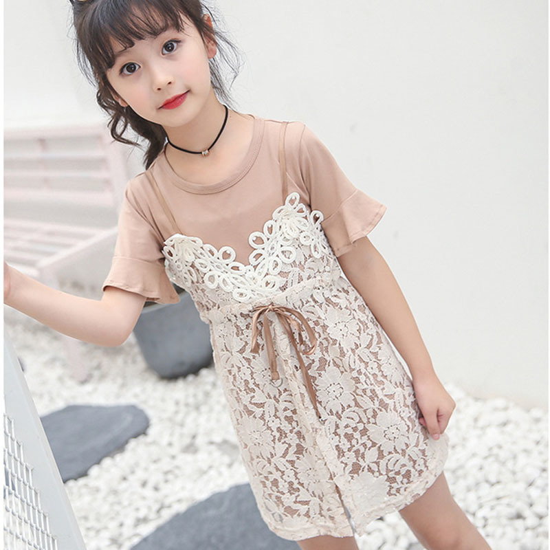 lace dress big girls sets 2018 summer spring baby girls clothes 2 pcs sets suit t shirts lace dresses children clothing sets 2017 summer girls sets clothes short sleeve chiffon baby girls sets for kids big girls t shirts and stripe shorts children suits