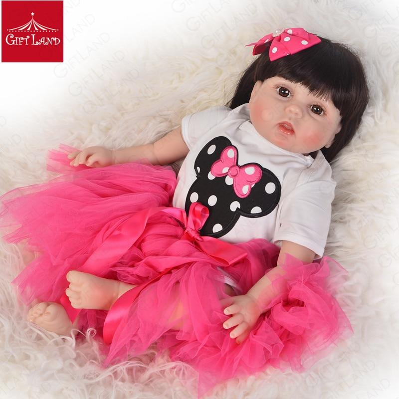 Reborn bébé poupée 22 pouces bébé chiffon poupée doux coton mignon fille en rose jupe Micky souris bébé poupée princesse cheveux longs meilleurs cadeaux
