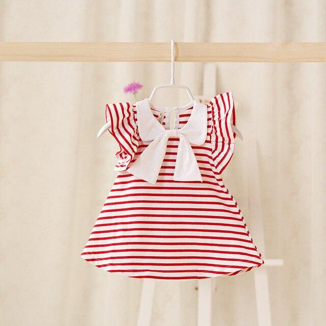 2016 летний новый детская одежда оптом досуг милый ребенок девушки Футболка лук полосатый довольно рубашка рукав летать для новорожденных