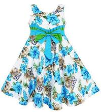 2015 new summer style girl dress fleur-de-lis print dress   cotton dress girls clothes kids dresses for girls children clothing