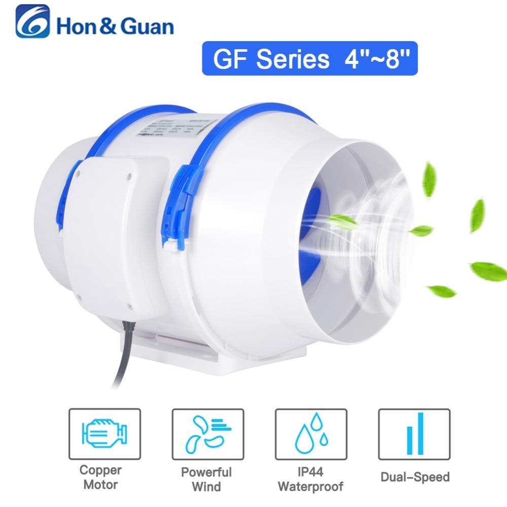 Hon & Guan 4 5 6 8 polegada Casa Silenciosa Inline Ventilador Do Duto de Ventilação Forte 110 v 220 v Extrator ventilador De Ar Da Cozinha Limpa Fãs Ventilador Do Banheiro