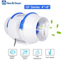 Hon&Guan 4 5 6 8 inch Home Silent Inline Duct Fan Strong Ventilation 110V 220V Extractor Fan Kitchen Air Clean Fans Bathroom Fan