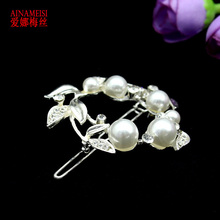 White Pearl And Flower Rhinestone Hair Clip Barrette Hairpin Headwear Accessories Jewelry For Woman Girls Wedding