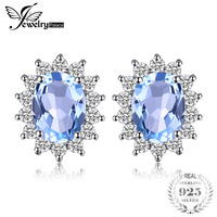 JewelryPalace Principessa Diana William Kate 1.2ct Blu Topas Halo Orecchini Reale 925 Sterling Silver 2017 Nuovi Gioielli in Vendita