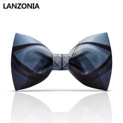 Lanzonia Designer Zwart En Blauw Patchwork Print Mens Business Vlinderdas Stijlvolle Moderne Boorden Unieke Cool Bowtie