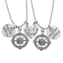 2 PCS/Set Mother Daughter Heart-Shaped Compass Pendant Necklace Set Love Heart Stitching No Matter Where Necklace For Women Gift
