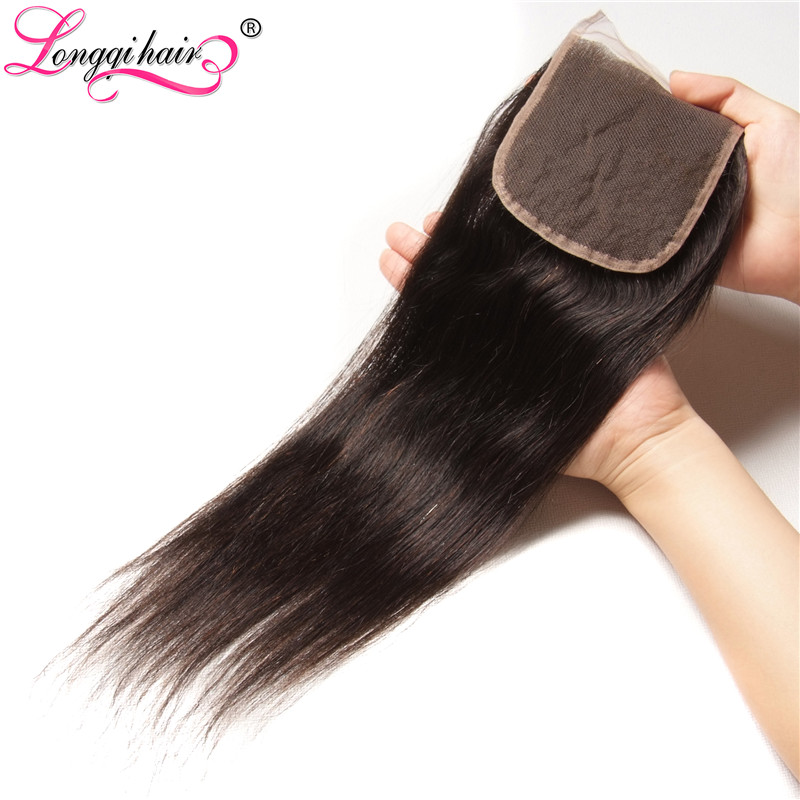 Longqi Hair Company Malaysian Straight Lace Closure Middle/Free/Three Part 4x4 Hand Tied Remy Hair 100% Human Hair Free Shipping