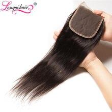 Cheveux malaisiens Remy 100% naturels – Longqi Hair, cheveux lisses, 4x4, avec Lace Closure, partie moyenne/libre/trois, attache à la main, livraison gratuite