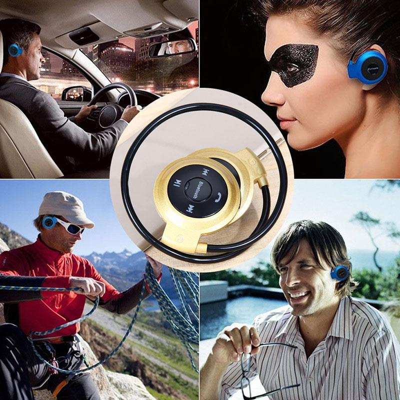 Headphone amzdeal Wireless Bluetooth Ear-hook Foldable with TF Slot FM Radio Speakers Sports Headphones Music Headset Earphone foldable wireless bluetooth headphone led light mp3 phones headphones with radio fm micphone tf card usb earphone headset 250mah