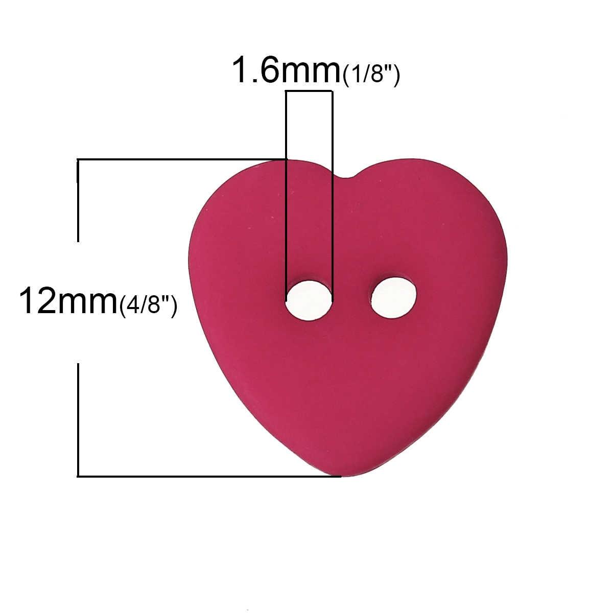 """Botão de costura de resina scrapbooking coração misturado 2 furos 12mm (4/8 """") x 12mm (4/8""""), 15 peças novo"""